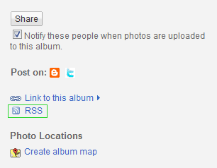 Picasa Albums RSS button